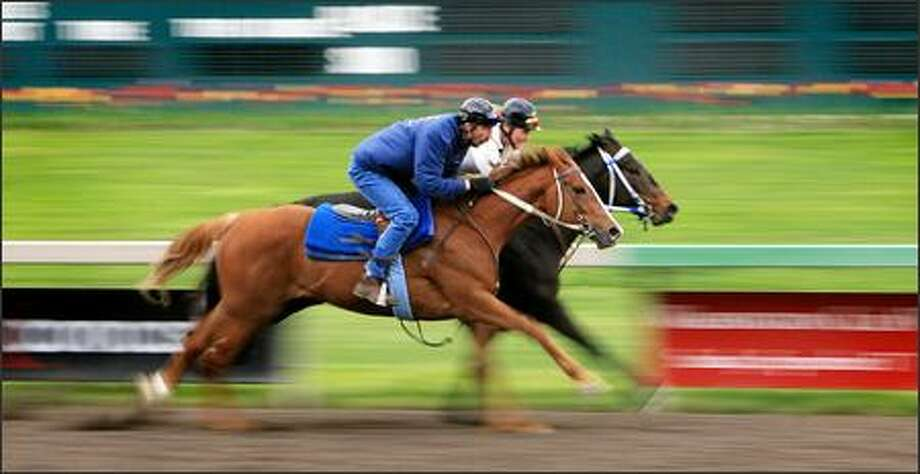 Trainer Steve Bullock, foreground, and exercise rider Trish Nix work two thoroughbreds in tandem at Emerald Downs in Auburn. Photo: Dan DeLong, Seattle Post-Intelligencer / Seattle Post-Intelligencer