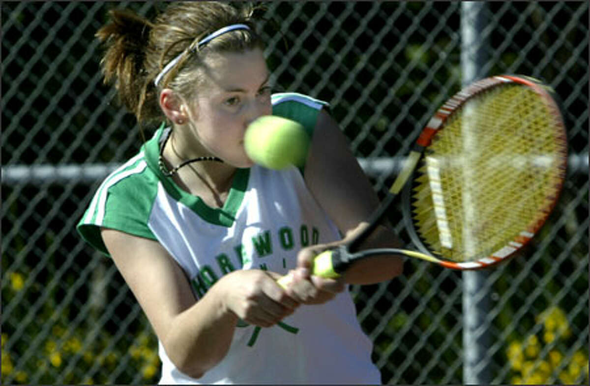 Shorewood senior Verena Sackl, an exchange student from Germany, beat Shorecrest's Ashley Opdyke 6-1, 6-2 on Tuesday. Sackl, who is 8-0 this season, learned to play on clay courts but has adjusted nicely to the local hard courts.