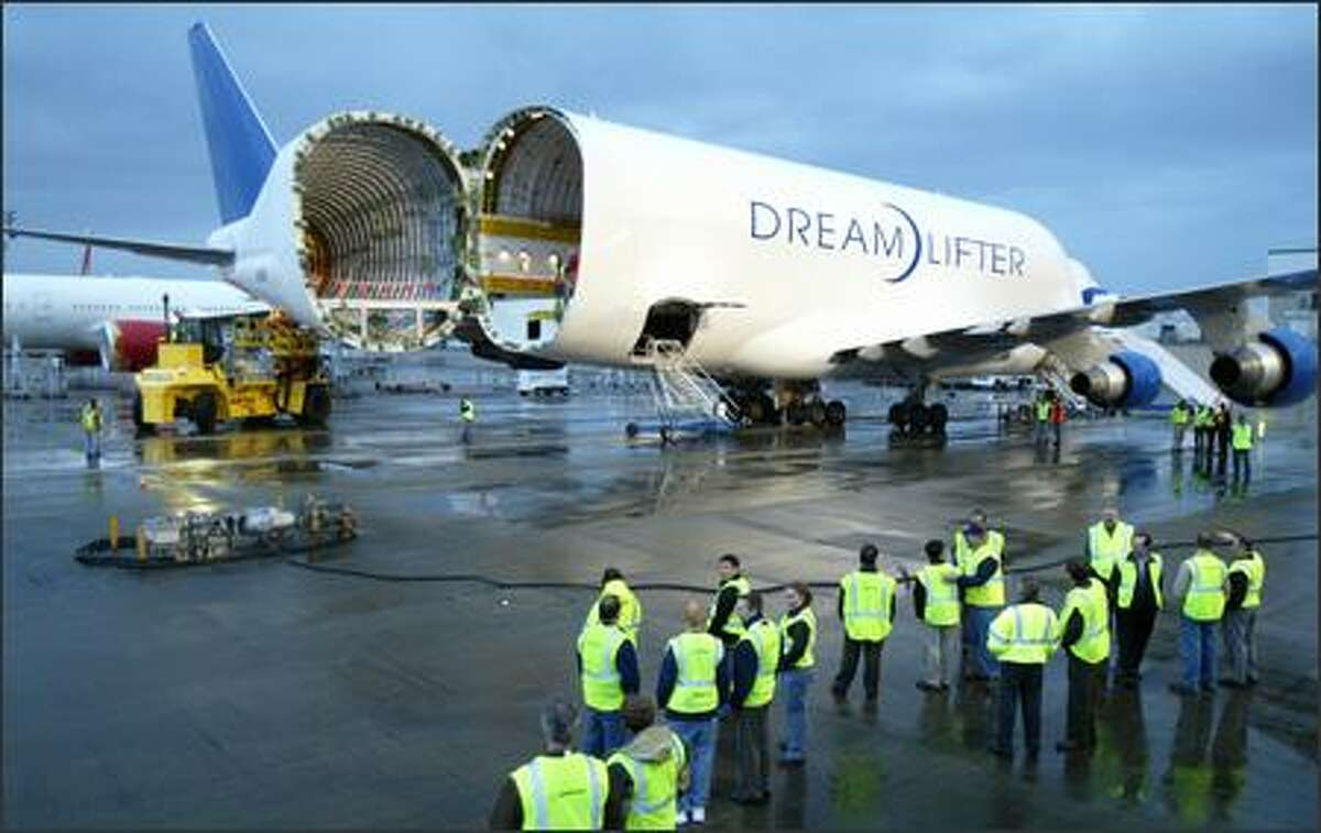 A Boeing Dreamlifter -- a modified 747-400 freighter -- sits at Paine Field in Everett on Tuesday after delivering a horizontal stabilizer for the first new 787.
