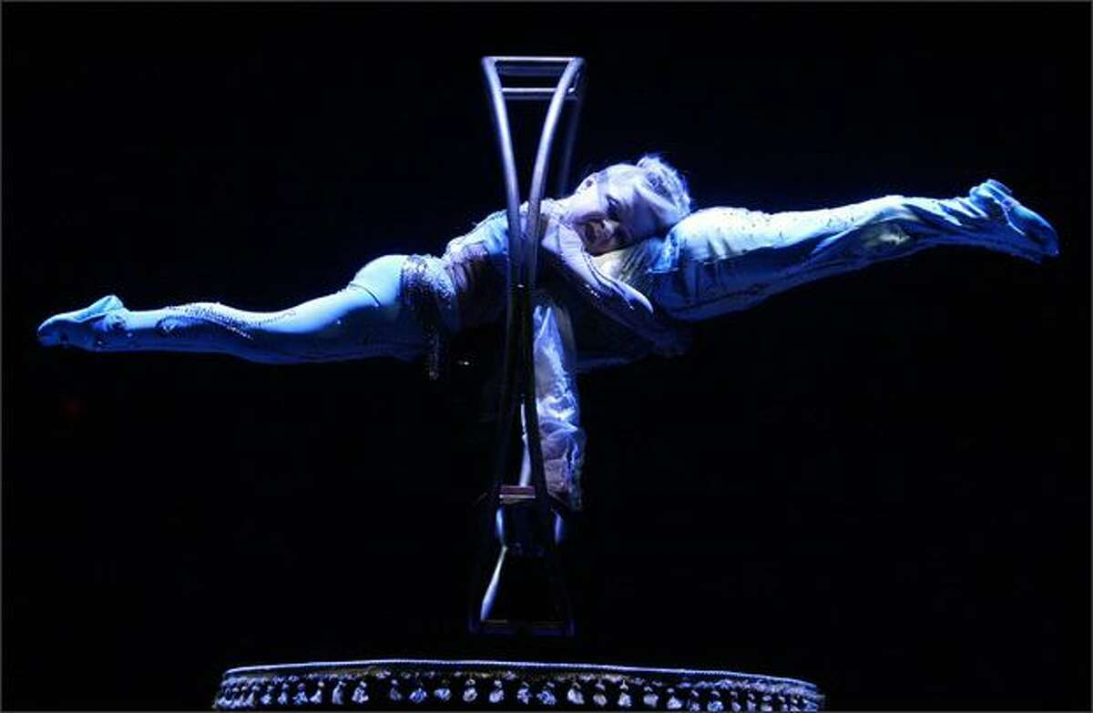 Cirque Du Soleil artists Grigor Pahlevanyan and Valentyna Pahlevanyan perform during a showing of Corteo at Marymoor Park in Redmond.