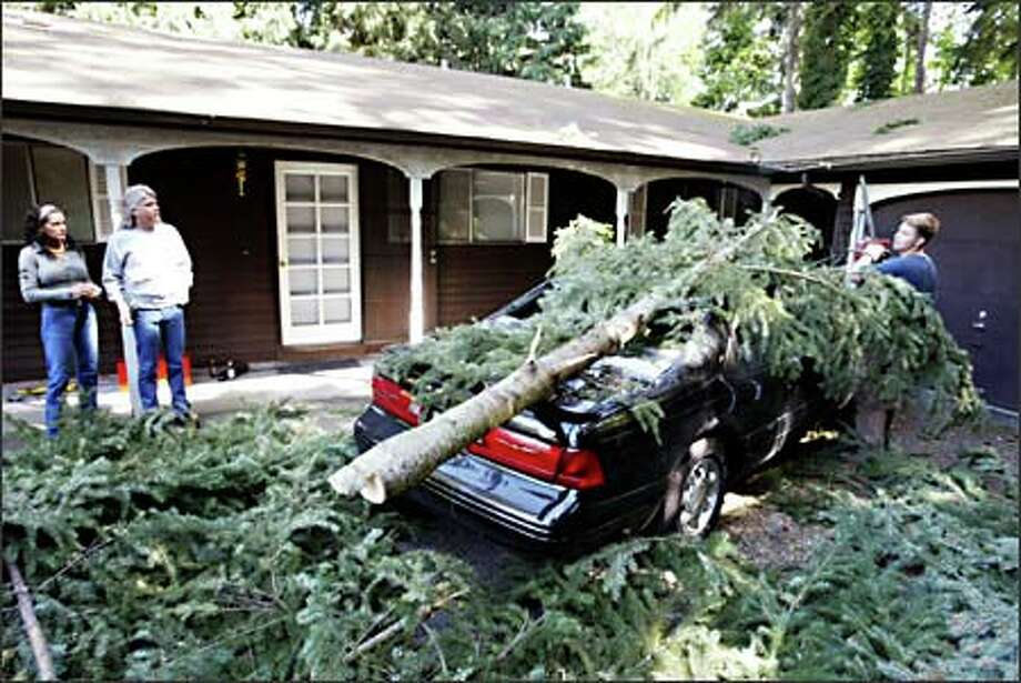 Michael Wright cuts limbs off the tree that fell on the mint-condition, 1996 Ford Thunderbird owned by Brenda Gard, left. With her is Bill Lindstrom, in whose driveway it is parked. Photo: Scott Eklund, Seattle Post-Intelligencer / Seattle Post-Intelligencer