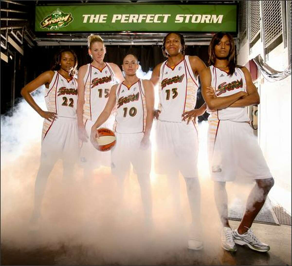 The Seattle Storm high profile starting five: Sheryl Swoopes, Lauren Jackson, Sue Bird, Yolanda Griffith and Swin Cash photographed at Key Arena.
