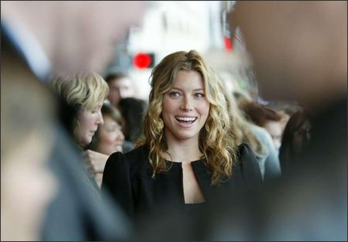 Actress Jessica Biel arrives for the premiere of her movie