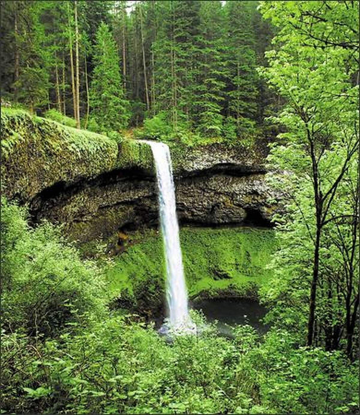 South Falls at Silver Lake State Park can be seen from several viewpoints. You can hike under the 177-foot-high falls via a paved trail.