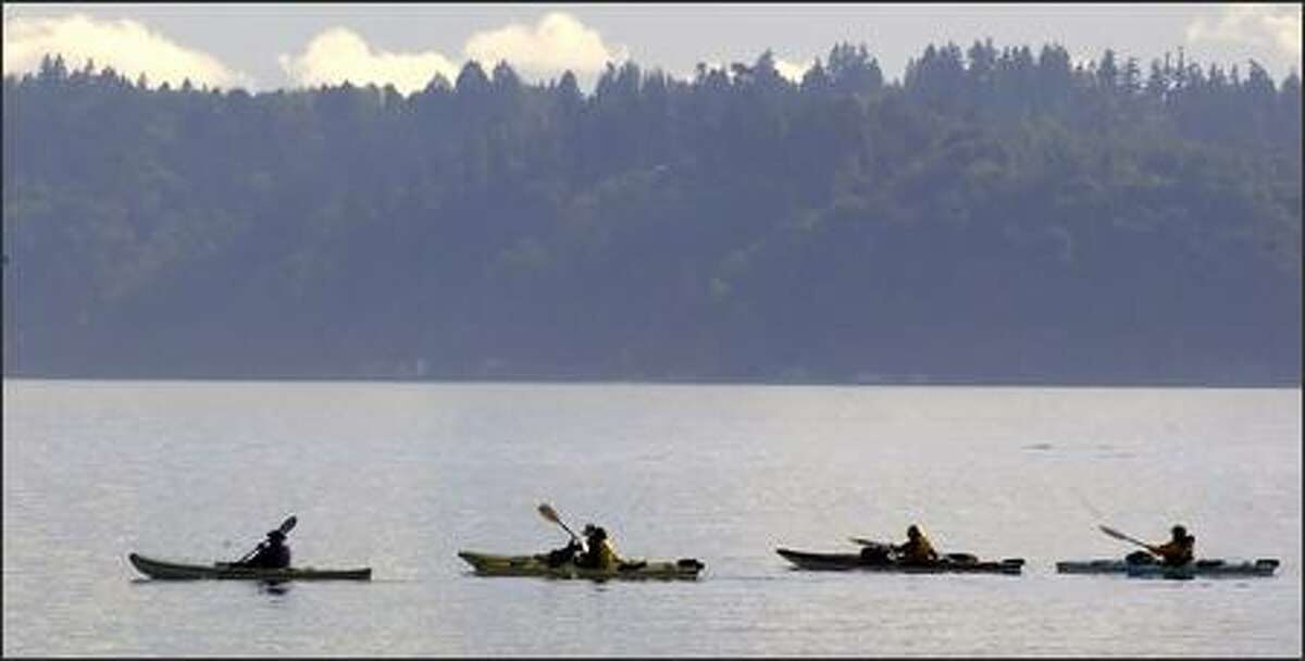 A group of kayakers paddles past Vashon Island on Friday after leaving Lincoln Park near the Washington State Ferries terminal at Fauntleroy.