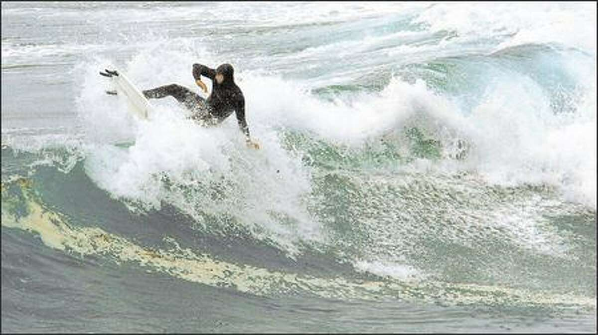 A breaker gets the best of a surfer on Boiler Bay, south of the Salishan Lodge.
