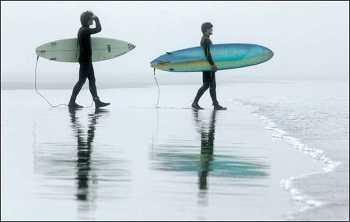 A pair of surfer dudes look for some wave action near Devils Punchbowl State Natural Area, south of Depoe Bay.
