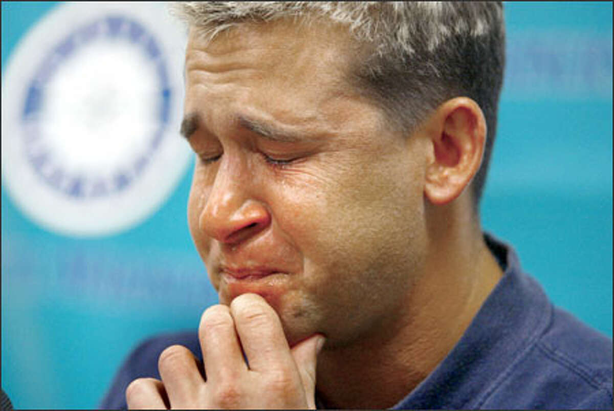 Seattle Mariners second baseman Bret Boone couldn't hold back the tears as he spoke with reporters after being designated for assignment.