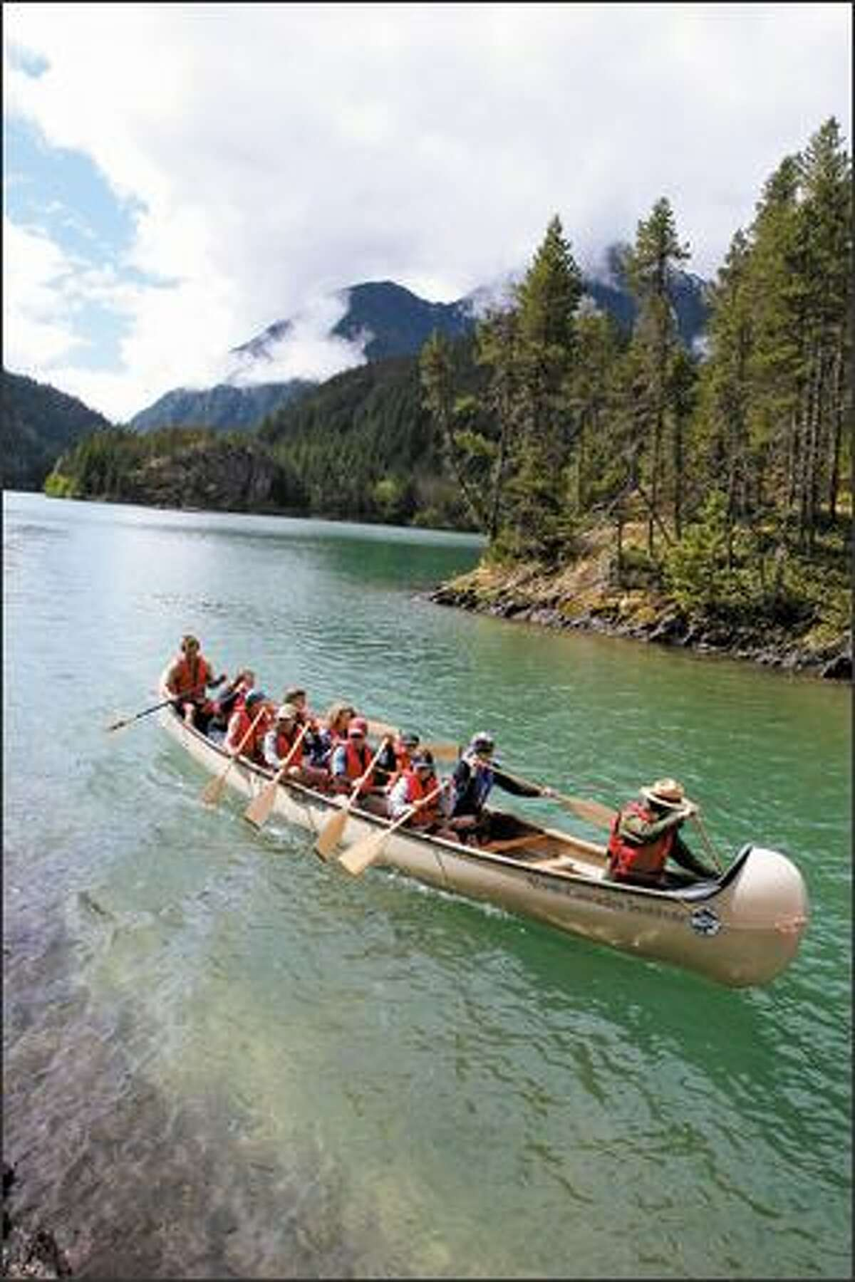 On weekends June through September, the North Cascades Institute offers two-hour guided trips in its 14-person voyager canoe on Diablo Lake.
