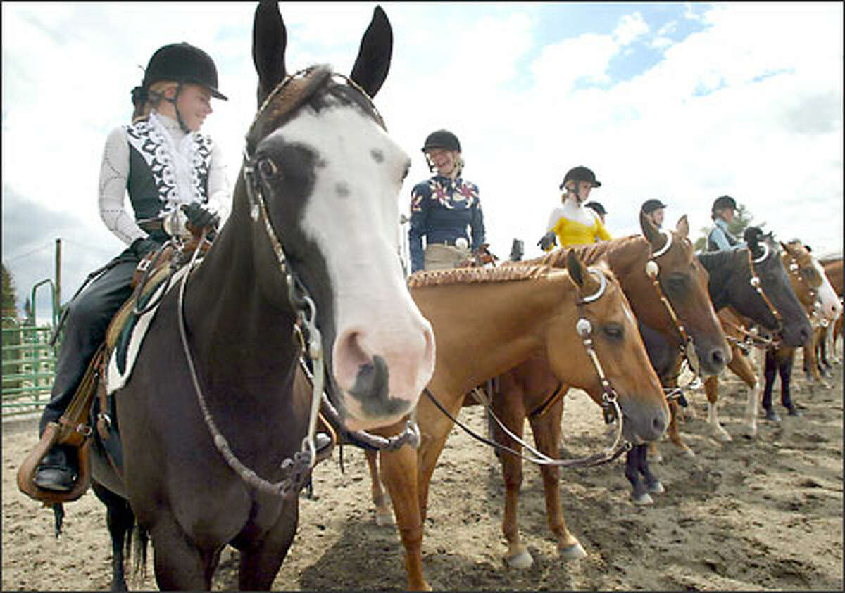 Lauren Storer, 12, left, and her horse Gabby compete yesterday with other sixth- through eighth-graders at the King County Fairgrounds for stock seat, a competition where the rider is judged. The fair opens officially today.