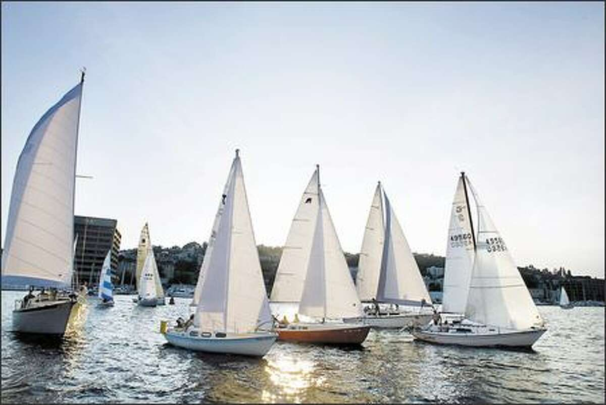 This week's Duck Dodge on Lake Union had 75 boats participating in the weekly sailboat race that occurs every Tuesday night from mid-May through October.