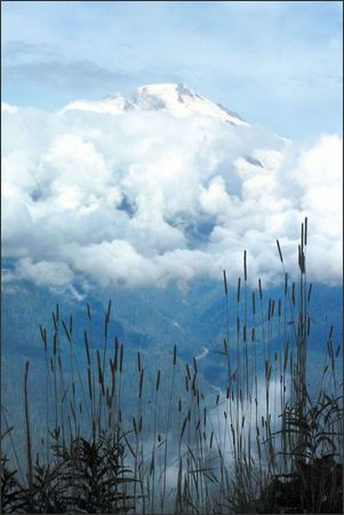 Mount Baker pokes its head above the clouds during the drive to the Watson Lakes trailhead.