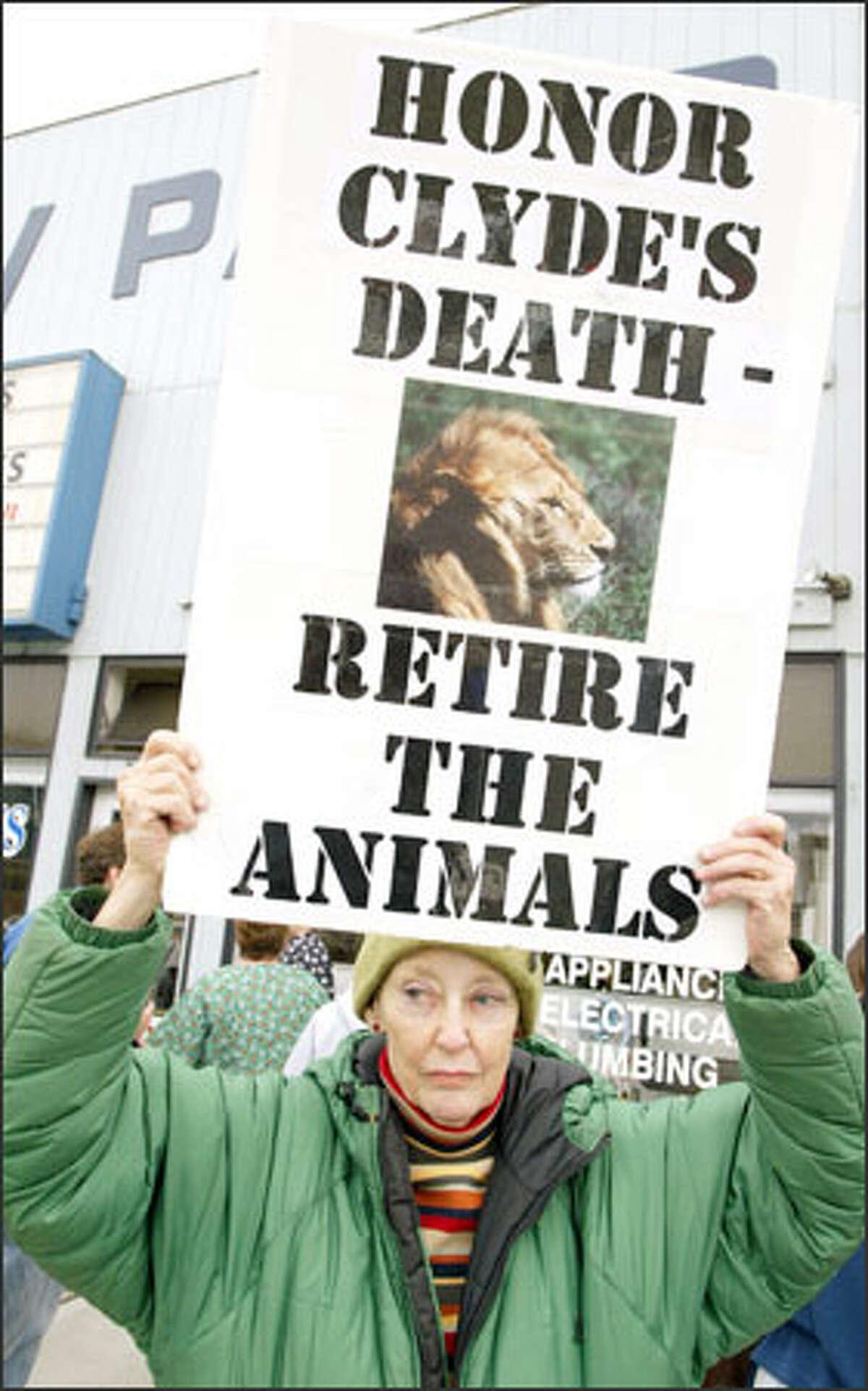 PETA member Nancy Pennington of Seattle displays her feelings during the elephant walk.