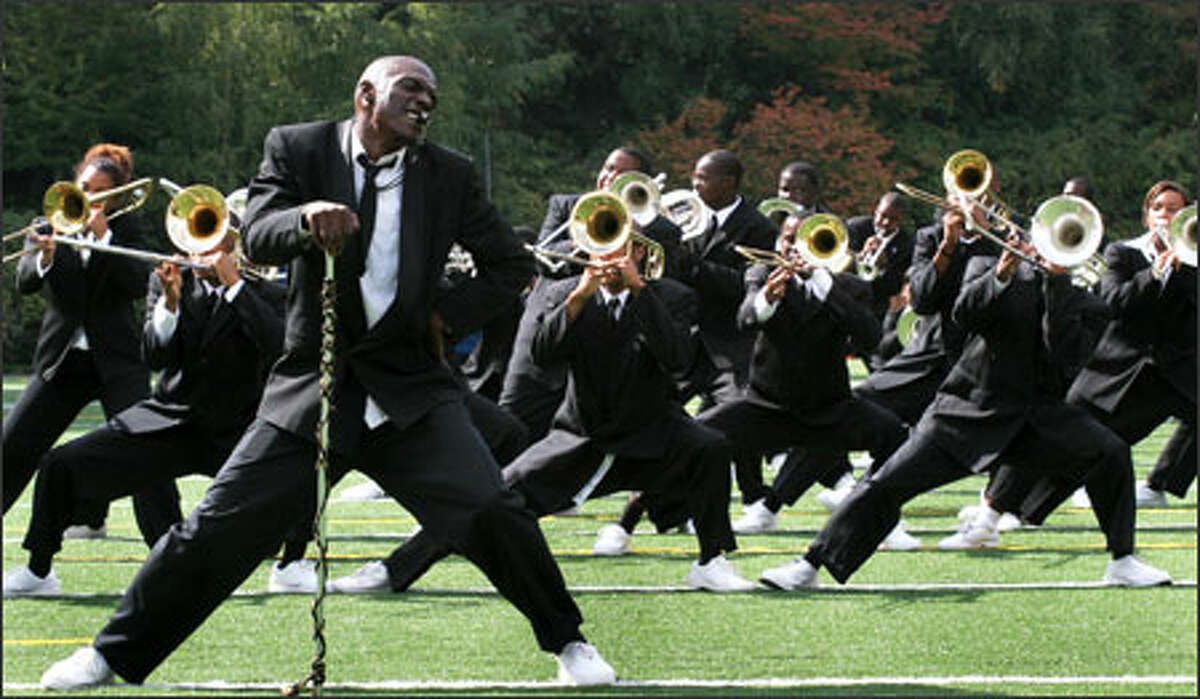 Drum major Jamal Hoover leads Grambling State University's renowned Mighty Tiger Marching Band, which was featured in the movie