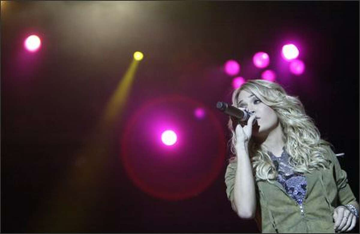 """""""American Idol"""" 2005 winner Carrie Underwood performs at the Puyallup Fair."""