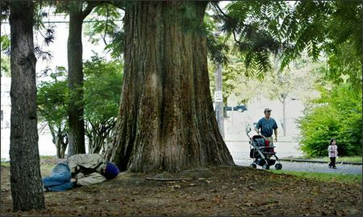 A man naps between trees as Doug Wedding of Seattle and 20-month-old daughter Alejandra stroll through Denny Park on Monday. A plaque at the park reads,