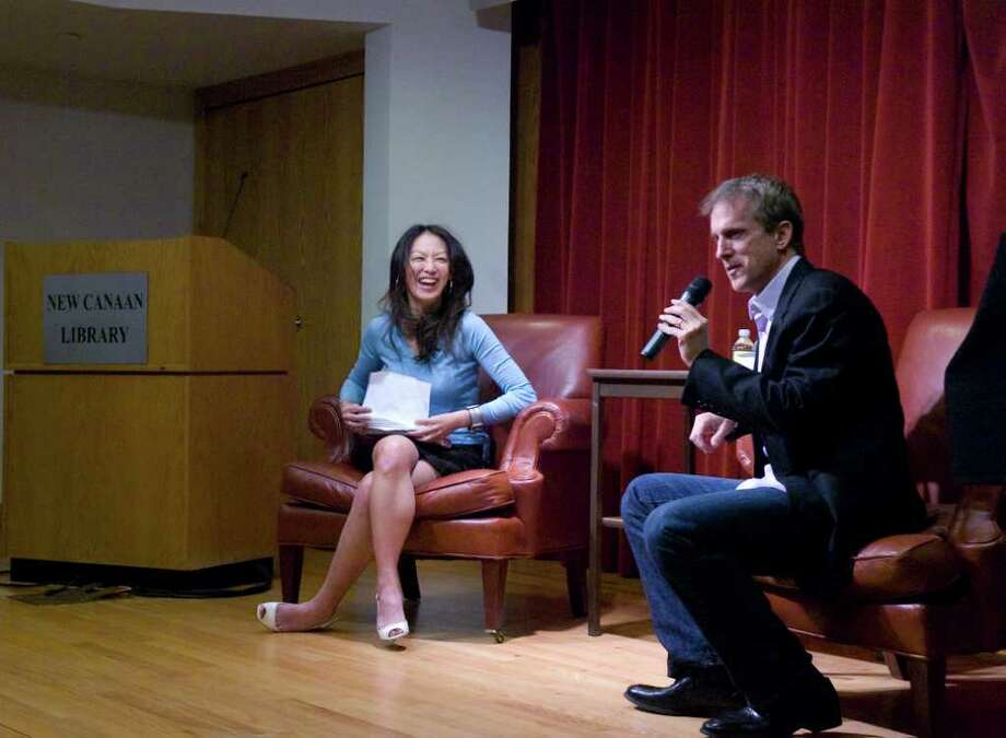 """Husband-and-wife authors Jed Rubenfeld and Amy Chua speak about their books """"The Death Instinct """" and """"Battle Hymn of the Tiger Mother"""" at New Canaan Library in New Canaan, Conn., April 3, 2011. Photo: Keelin Daly / Stamford Advocate"""