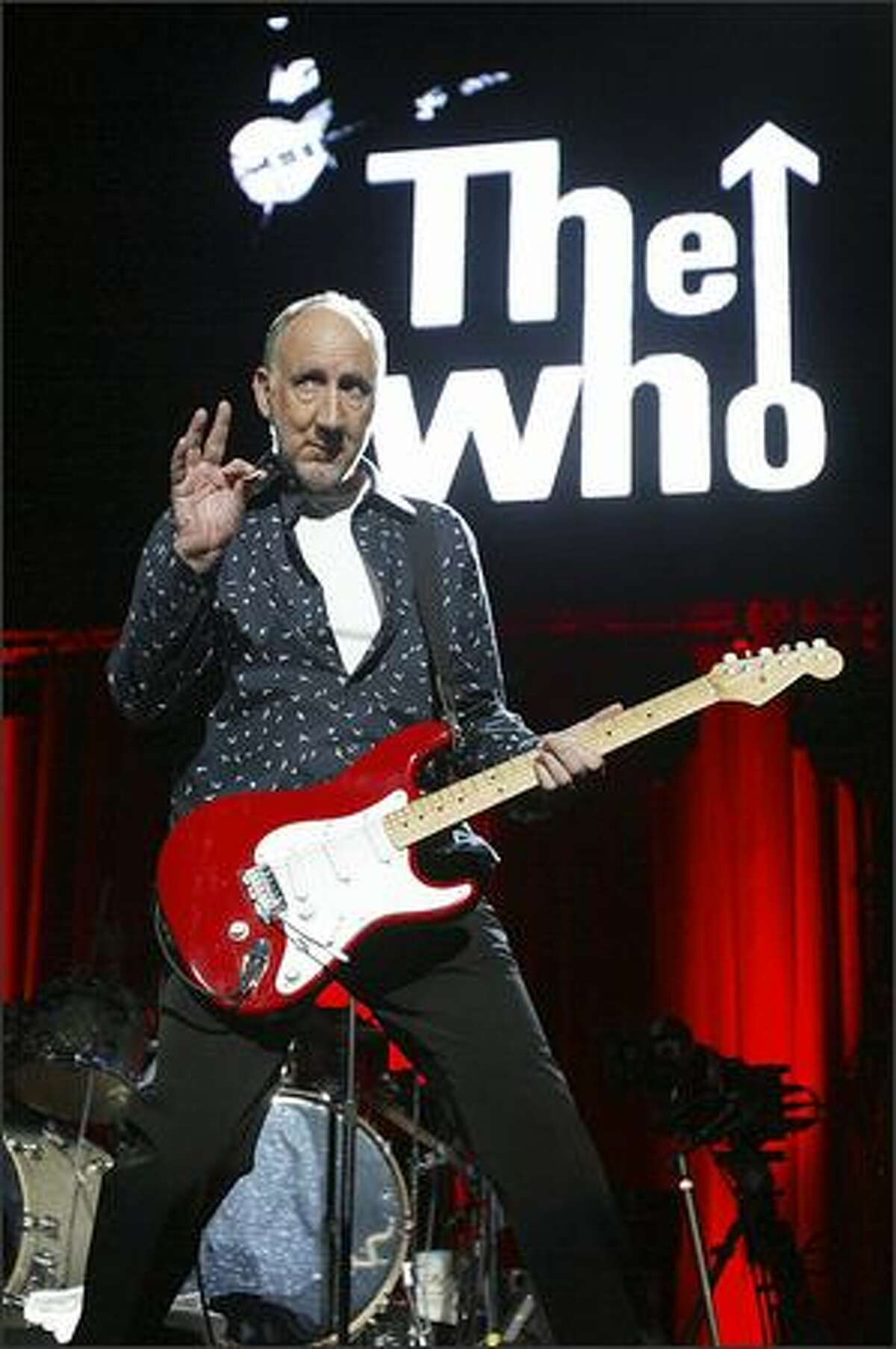 Pete Townsend takes the stage as The Who performs at KeyArena Wednesday night.