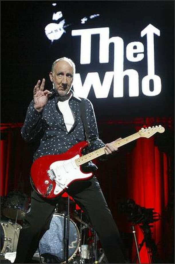 Pete Townsend takes the stage as The Who performs at KeyArena Wednesday night. Photo: Grant M. Haller, Seattle Post-Intelligencer / Seattle Post-Intelligencer