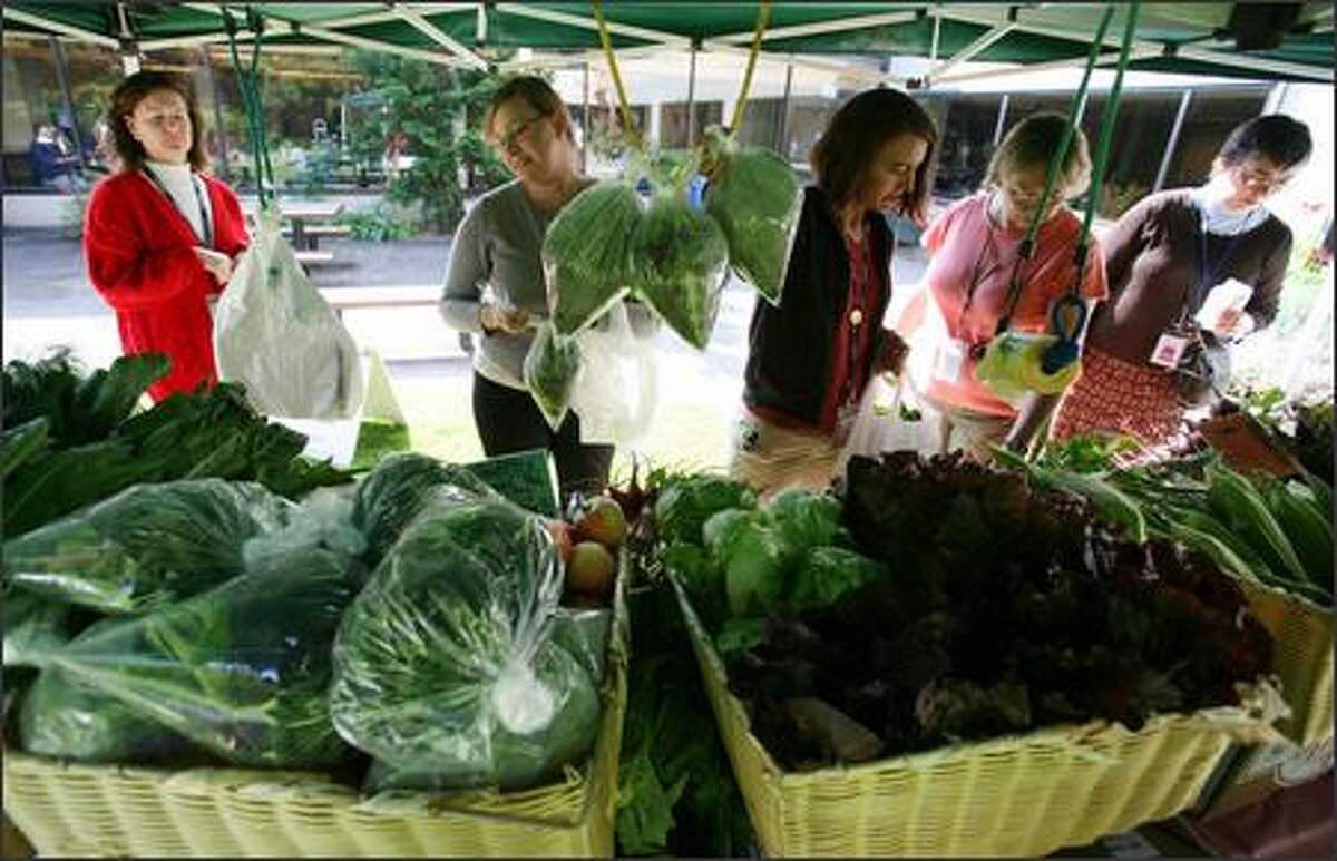 Full Circle Farms operates an organic produce stand once a week outside the cafeteria at Children's Hospital.