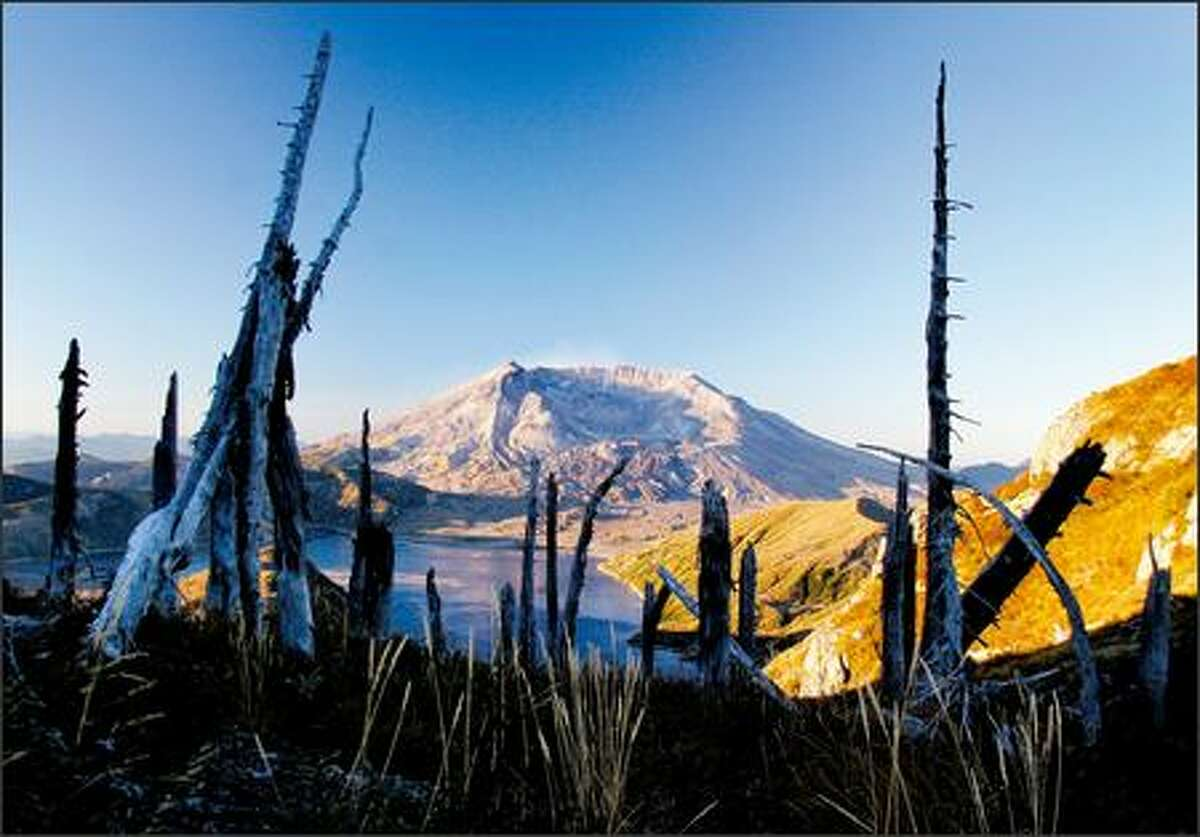 The sun rises on Mount St. Helens National Volcanic Monument.