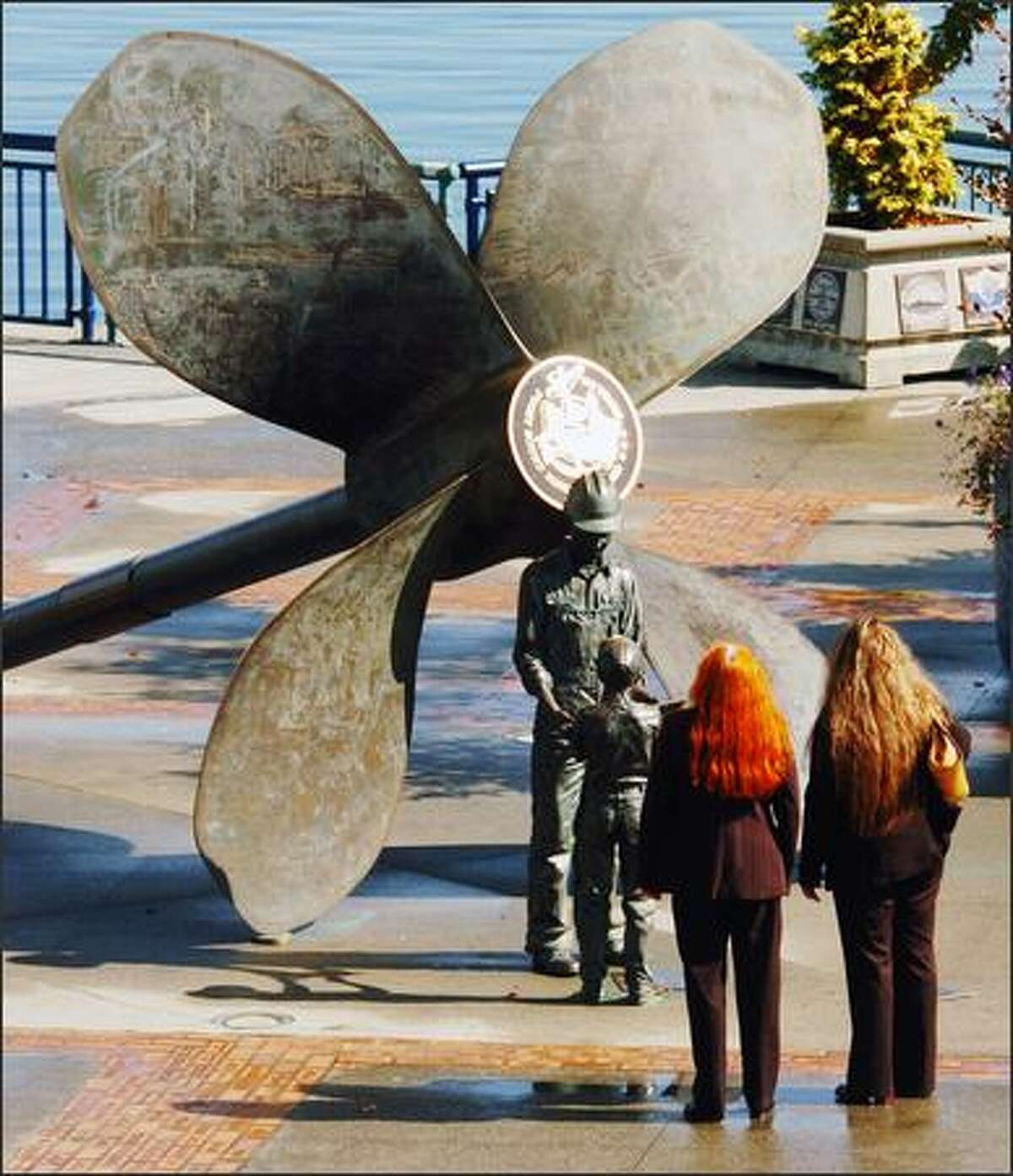 A waterfront sculpture in Bremerton pays tribute to the heavy maritime influence in the area.