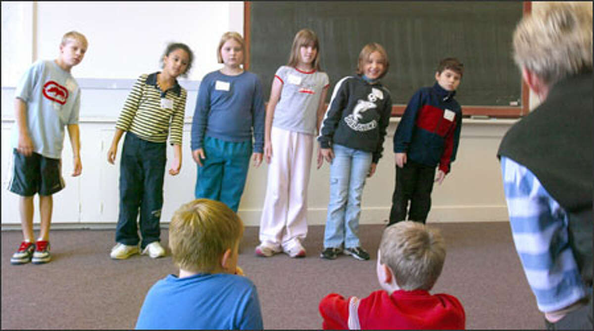 Fourth-graders practice their