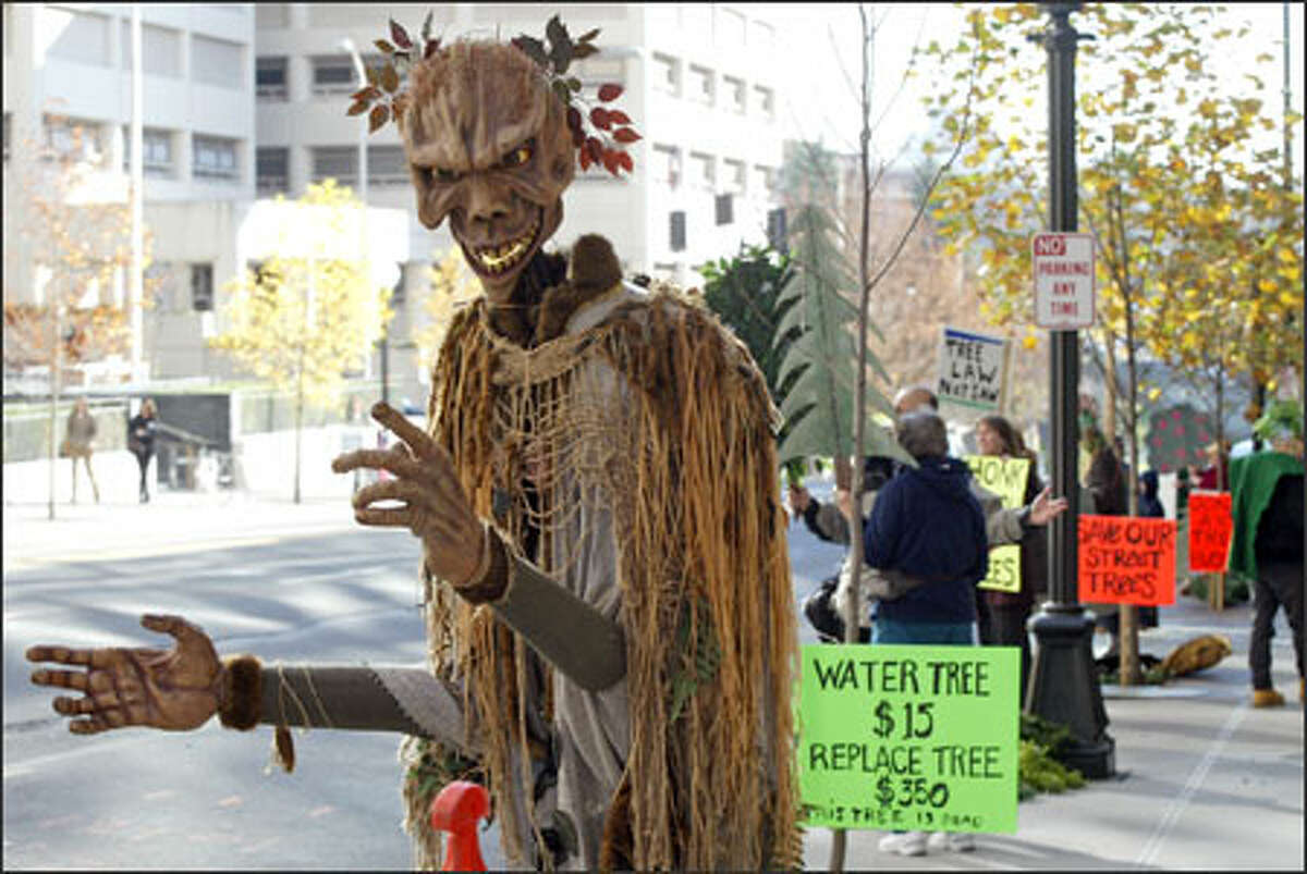 Diedre Muns, a member of Plant Amnesty, wears a costume she calls the Wood Troll while protesting budget cuts in front of City Hall Wednesday.