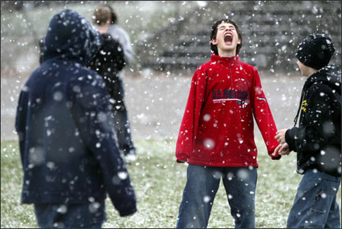 McClure Middle School eighth-grader Mike Fagan roars as he tries to catch snowflakes at Queen Anne Playfield on Thursday.