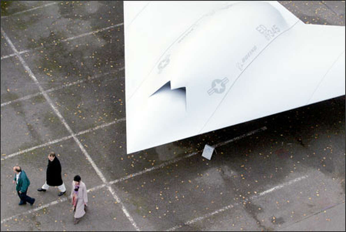 A full-scale mock-up of the new X-45C unmanned combat aircraft sits on display at the Boeing Development Center on Tuesday. The program's headquarters is in St. Louis.
