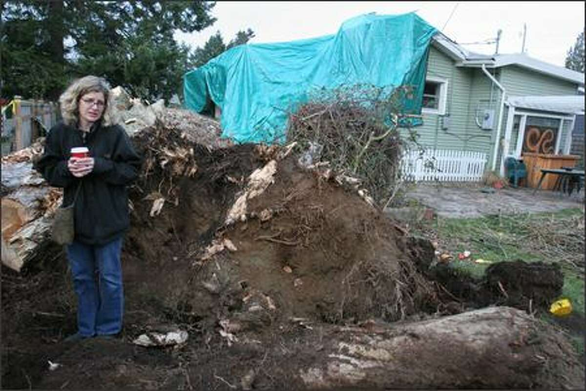 Kathi Cronin on Tuesday stands at the base of the poplar tree that fell on her house in Arbor Heights where she lives with her husband and two children. The house is currently uninhabitable.
