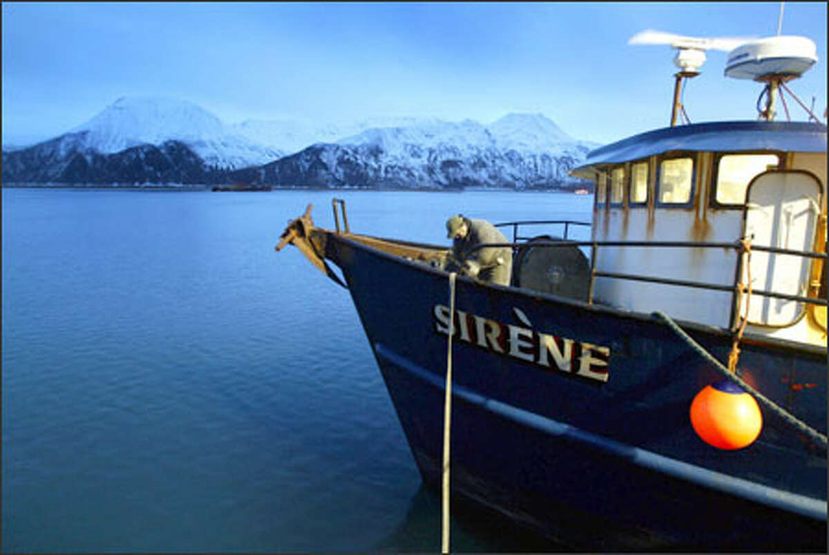 Denny Knagin, 48, prepares the Sirene in Dutch Harbor for one of its daily resupply runs to the site of the Selendang Ayu wreck. He hopes to get 30 days of work on the cleanup.