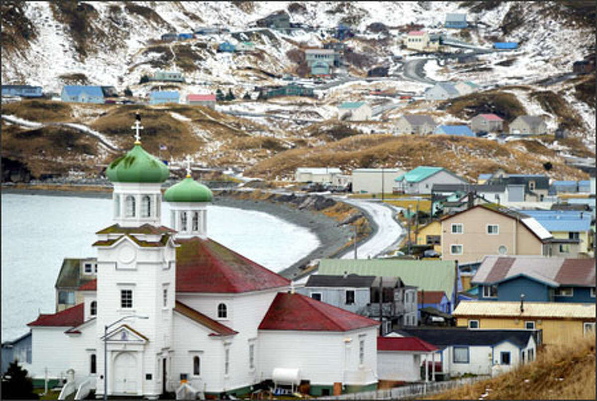 The Russian Orthodox church is the most dominant landmark in the city of Unalaska, which includes Dutch Harbor.