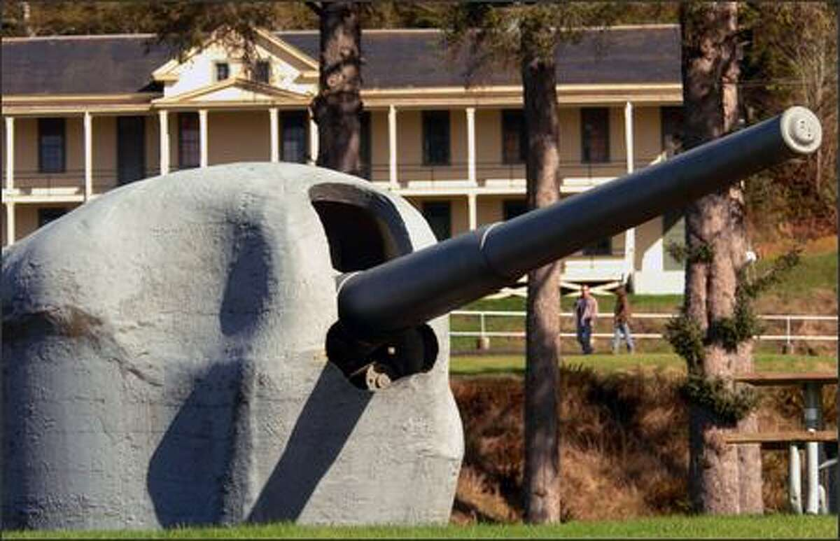 A large gun emplacement stands at Fort Columbia State Park. The fort is one of only a few coastal defense fortresses in the country still in tact.