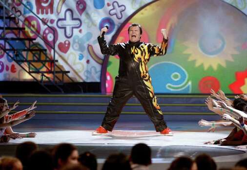 Host Jack Black performs at Nickelodeon's 24th Annual Kids' Choice Awards on Saturday, April 2, 2011, in Los Angeles. Photo: AP