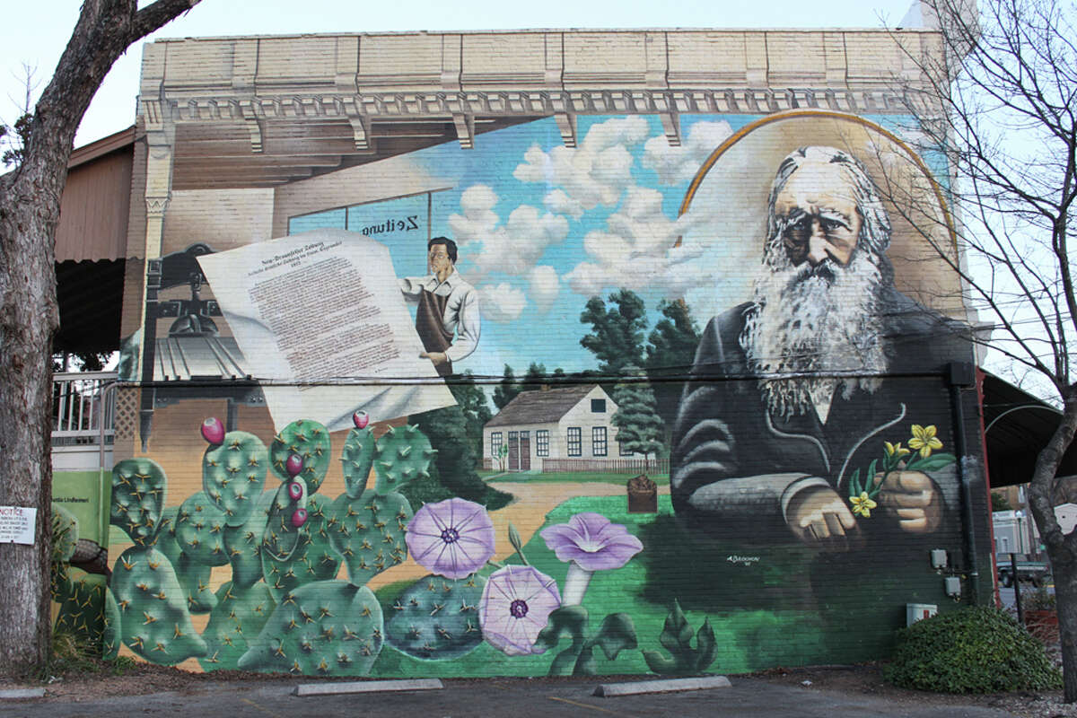 This mural at 165 S. Seguin Ave. celebrates Ferdinand Jacob Lindheimer, the Father of Texas Botany. KATHLEEN SCOTT / SPECIAL TO THE EXPRESS-NEWS