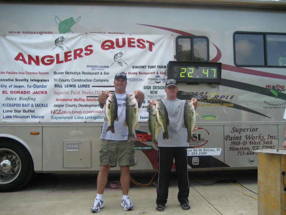 First place winners from the Angler's Quest Team Tournament held on April 2, Keith Caka & Charles Bebber.