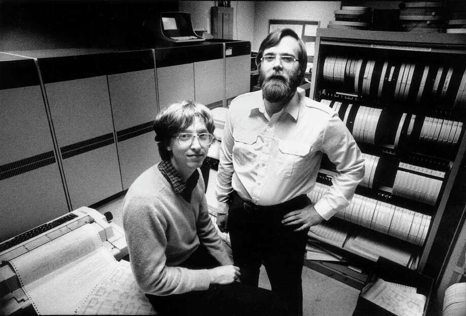 Bill Gates and Paul Allen, Lakeside, 1973 and 1971: After Gates enrolled at Lakeside, money from the Lakeside rummage sale – an annual event that still happens – paid for a Teletype Model 33 ASR terminal and computer time on a General Electric computer for Lakeside students. Gates excelled, and he and Allen both shared a love of computers. They started Microsoft in 1975 and did pretty well. Photo: JIM HALLAS, Associated Press / EASTSIDE JOURNAL