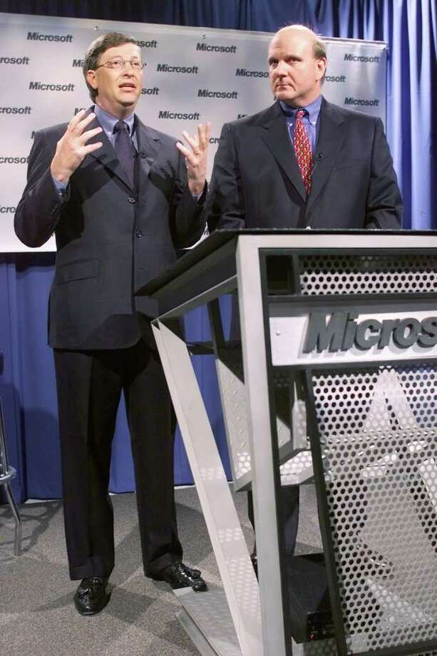 Microsoft Chairman Bill Gates and President and CEO Steve Ballmer during a press conference April 3, 2000, in Redmond held in reaction  to the verdict against Microsoft in the antitrust trial. Photo: MIKE URBAN