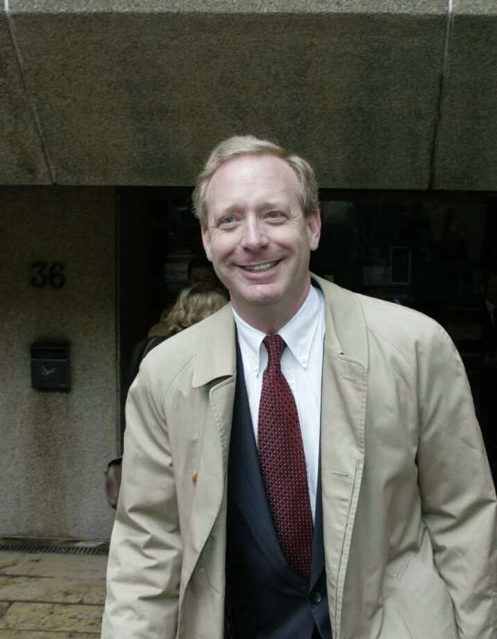 The chief lawyer for Microsoft, Brad Smith, is seen outside the EU Borchette building in Brussels on March 31, 2006, after antitrust hearings with the European Union. (GERARD CERLES/AFP/Getty Images) Photo: GERARD CERLES, AFP/Getty Images / 2006 AFP