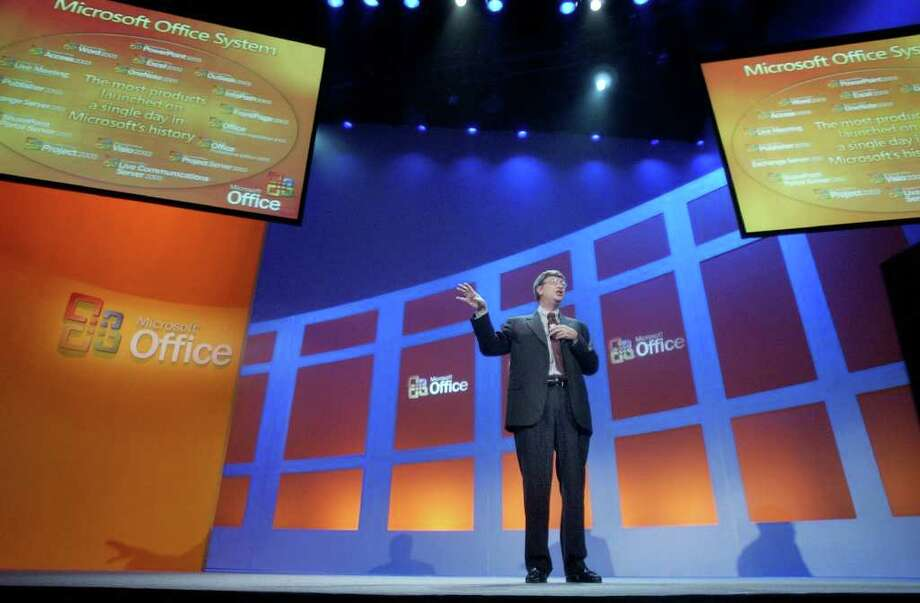 Bill Gates introduces Microsoft Office 2003 in New York on Oct. 21, 2003. (AP Photo/Richard Drew) Photo: RICHARD DREW, Associated Press / AP