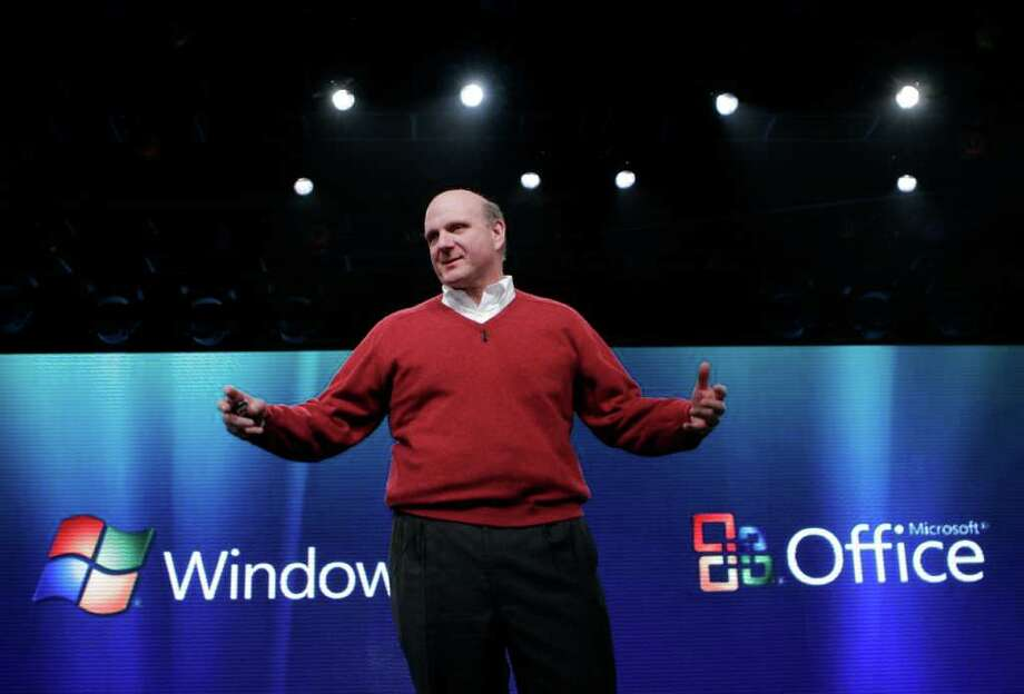 CEO Steve Ballmer introduces Windows Vista on Jan. 29, 2007, in New York. (seattlepi.com file) Photo: Mark Lennihan, AP / AP