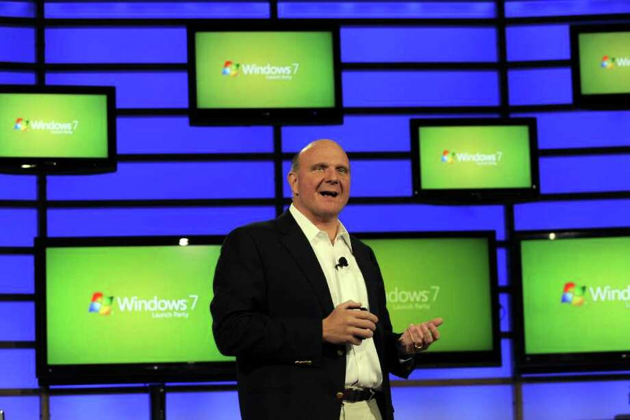 CEO Steve Ballmer kicks off the worldwide availability of Windows 7 on Oct. 22, 2009. in New York. (TIMOTHY A. CLARY/AFP/Getty Images) Photo: TIMOTHY A. CLARY, Seattlepi.com / 2009 AFP