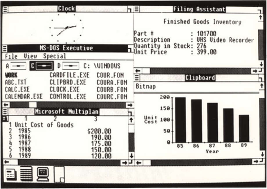 This screenshot shows a desktop configuration in Windows 1.0, which was released on Nov. 20, 1985. (Microsoft image) Photo: Seattlepi.com