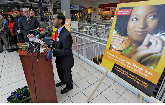 "The Food Court at Crossgates Mall in Guilderland, N.Y. was chosen as the local kick-off location for the ""I Choose 600"" obesity prevention campaign message as part of National Public Health Week by Dr. Nirav R. Shah, New York State Health Commissioner April 4, 2011.  (Skip Dickstein / Times Union) Photo: Skip Dickstein / 2008"