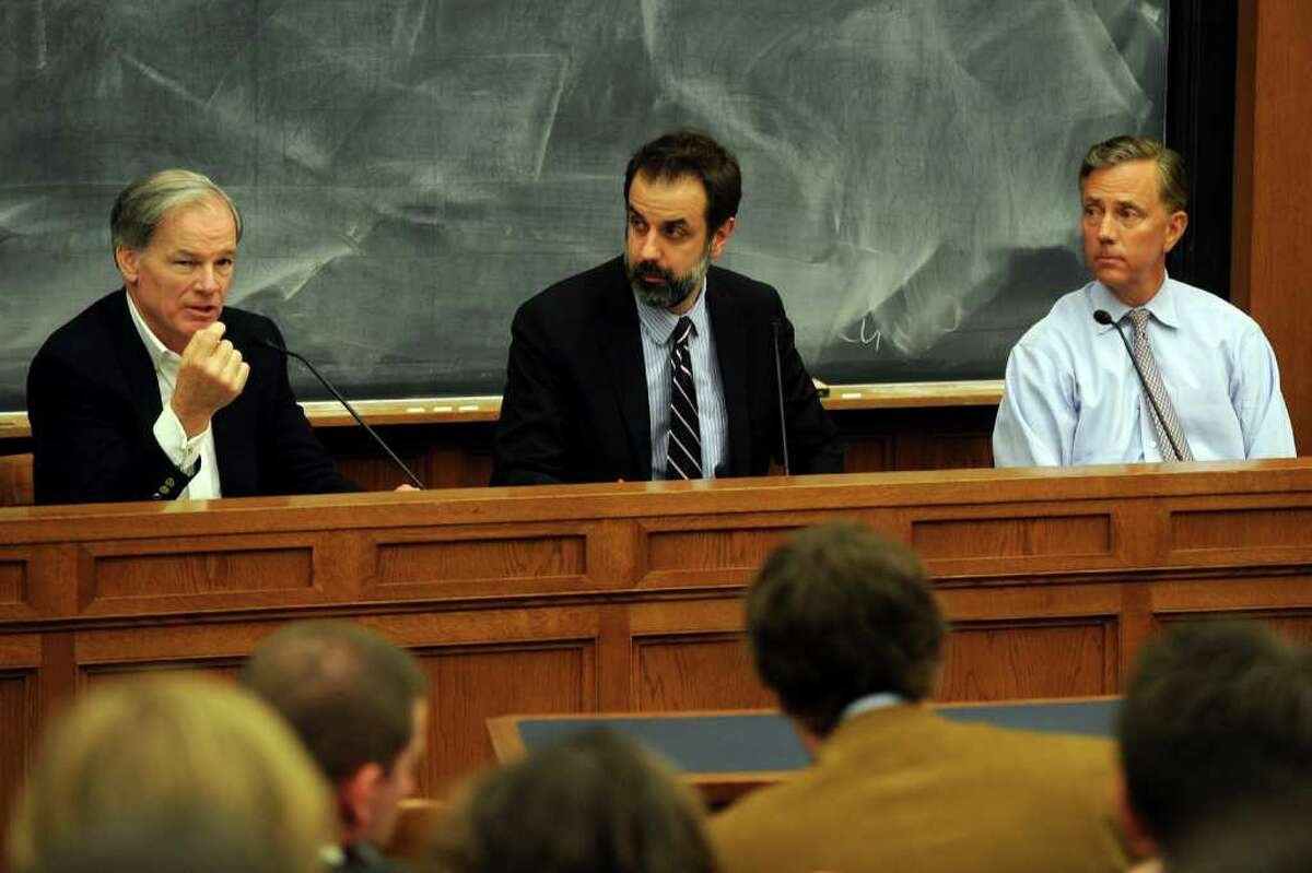 Tom Foley (left), 2010 Republican gubernatorial nominee, and Ned Lamont (right), 2010 Democratic candidate take part in a debate in front of students at the Yale Law School on the Yale University campus in New Haven, Conn. April 4th, 2011. They are seen here with debate moderator John Dankosky of WNPR.