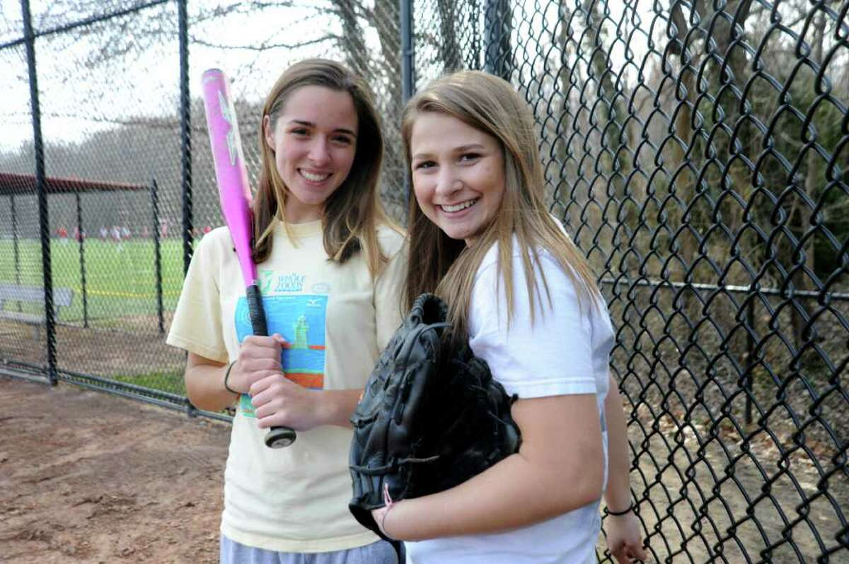 Greenwich High School softball team captains Barbara Callahan, 17, left, and Olivia Franchella, 17, at a practice at the school on April 4, 2011.