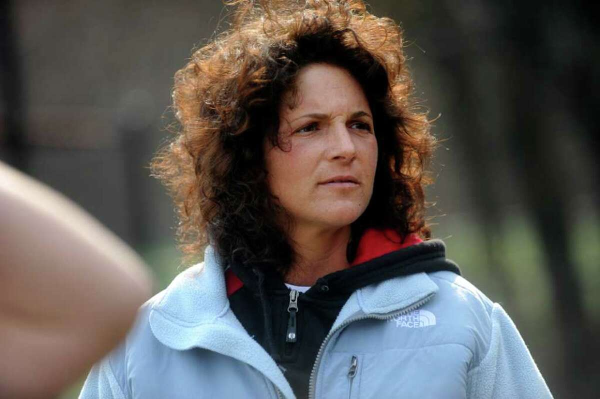 Greenwich High School softball coach Mary Beth Fratello at practice at the school, on Monday, April 4, 2011.