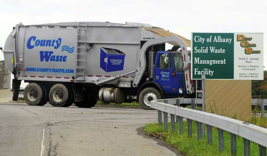 A County Waste disposal truck, pulls into the main entrance of the city of Albany Solid Waste Management Facility. (JAMES GOOLSBY/TIMES UNION-Sept. 30, 2008)