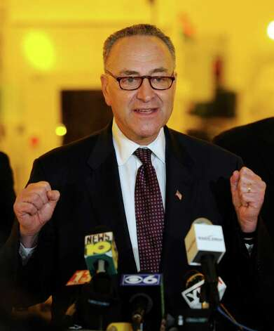 Senator Charles E. Schumer leads the rally for a $100 million grant for research of solar cell research at the University at Albany, N.Y.  this afternoon April 4, 2011.   (Skip Dickstein / Times Union) Photo: Skip Dickstein / 2008
